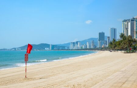 The deserted central beach of the resort town of Nha Trang in April 2020, Vietnam.