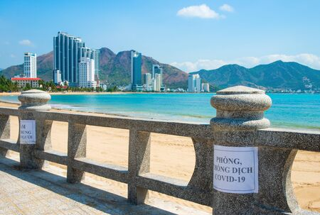 The deserted beach of the resort town of Nha Trang in April 2020, Vietnam.