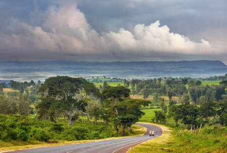 Scenic road to the famous Ngorog Ngoro National Park in Tanzania, Africa. Banco de Imagens