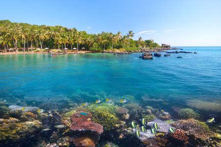 Scenic tropical beach of Hon Thom island (near Phu Quoc) with beautiful underwater world. Vietnam Banco de Imagens