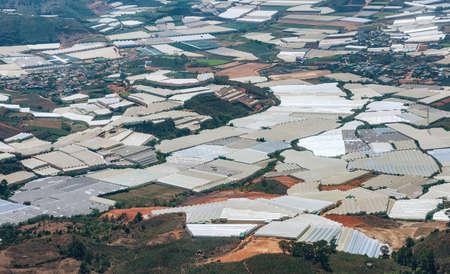 Aerial view of huge greenhouse farms near city Dalat, Vietnam Banco de Imagens