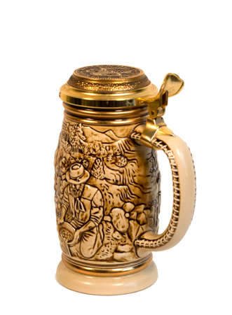 stein: A traditional beer stein depicting the Gold Rush. Stock Photo