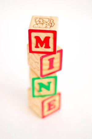 Vintage alphabet blocks spelling out  Stock fotó