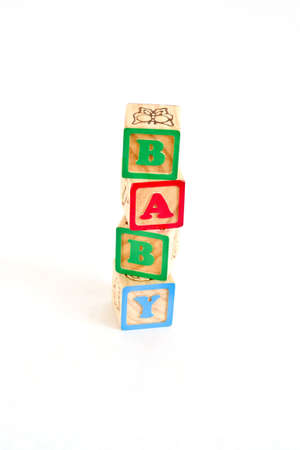 Vintage alphabet blocks spelling out BABY photo