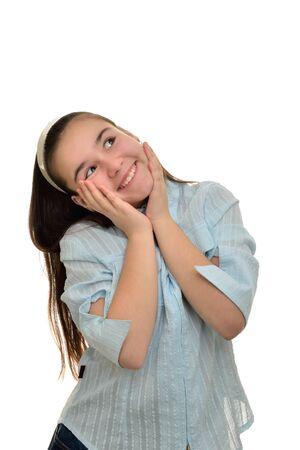 Rejoicing a laughing schoolgirl teen girl