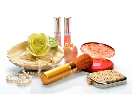 Items for decorative cosmetics makeup and jewelry photo