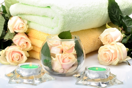 Towels and flowers for salon Spa, bath-houses and saunas photo
