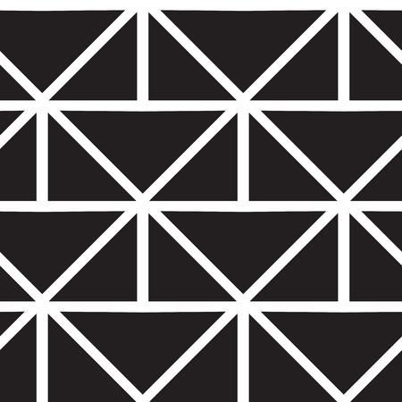 '80s: Vector geometric seamless pattern. Repeating abstract lines pattern in black and white. Classical triangle flat texture, pattern design 80s style