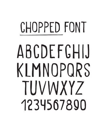 statics: Line simple chopped font. Universal alphabet with capital letters, numbers, grunge minced design