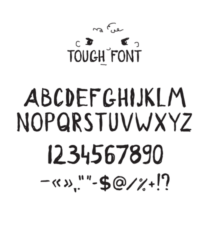 font design: Grunge tough simple font. Universal alphabet with capital letters, numbers, glyphs, sign for your design concept, art, business