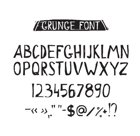 tough: Grunge tough simple font. Universal alphabet with capital letters, numbers, glyphs, sign for your design concept, art, business