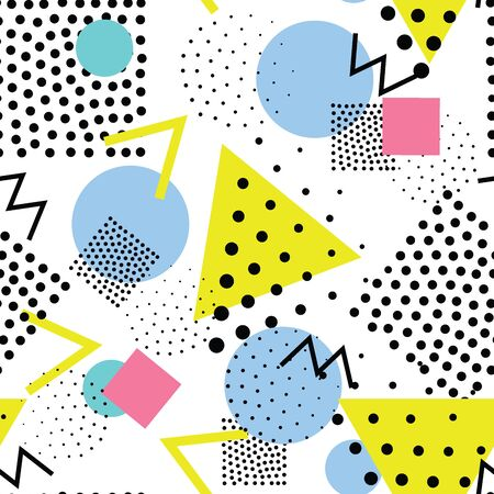 90s: Vector colorful seamless pattern. Universal repeating geometric abstract figure, pseudo art. Wallpaper, wrapping paper, interior, pointillism, memphis 80s, 90s style