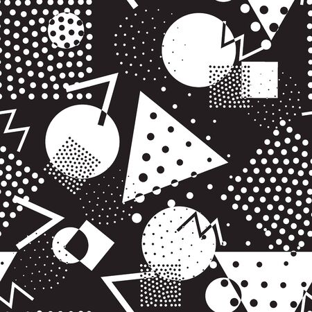 '80s: Seamless geometric pattern in retro memphis 80s style Illustration