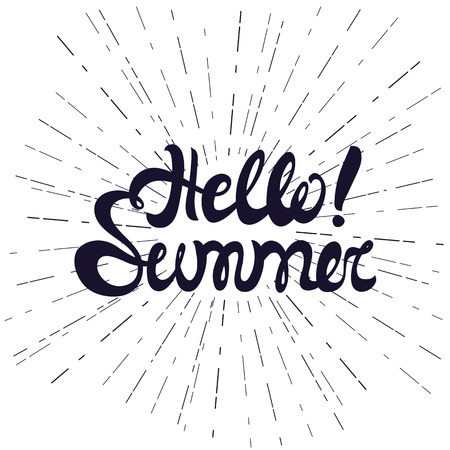 say hello: Hello summer. Vector background, illustration. Say Hello to summer. Summer fun quote. Hand lettering summer typography poster badge, label