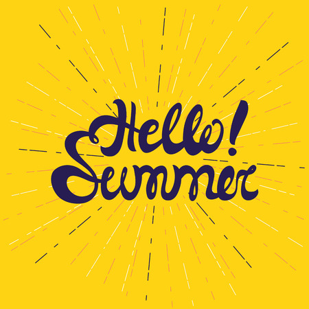 say hello: Vector summer background. Summer fun. Hello Summer vector colorful illustration. Say Hello to summer. Summer fun quote. Hand lettering summer typography poster. Handwritten summer lettering Illustration