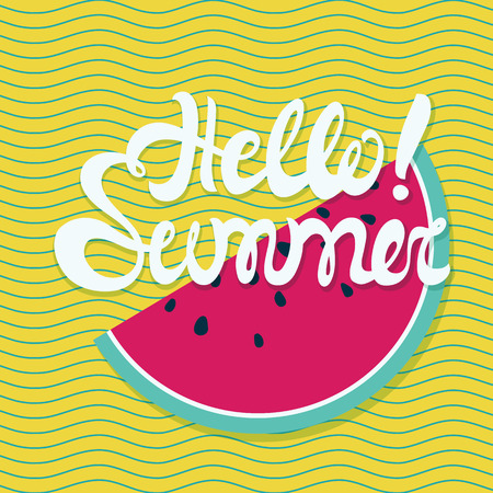wave hello: Hello summer lettering with conceptual marine background, wave pattern, watermelon. Hello summer poster in white, yellow color Illustration