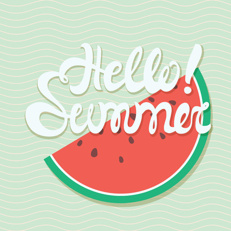 wave hello: Hello summer lettering with conceptual marine background, wave pattern, watermelon. Hello summer poster in white and blue, red color Illustration
