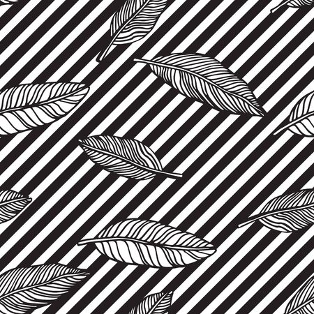 span: Simple seamless tropical jungle floral pattern background with handdrawing doodle leaves, horisontal diagonal striped texture. Universal summer patterrn for your clothers, typography, design in clasic 1990s, 1980s stule Illustration