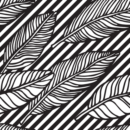 Simple seamless tropical jungle floral pattern background with handdrawing doodle leaves, horisontal diagonal striped texture. Universal summer patterrn for your clothers, typography, design in clasic 1990s, 1980s stule Çizim