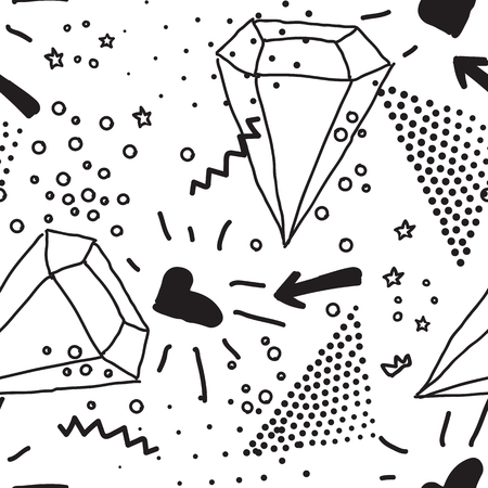 kitsch: Simple seamless doodle pattern in kitsch, primitivism, minimal style. Unusual seamless pattern with briliant, letter, heart, rain, background, handdrawing doodle. Perfect patterrn for clothers, design in 1990s, 1980s style