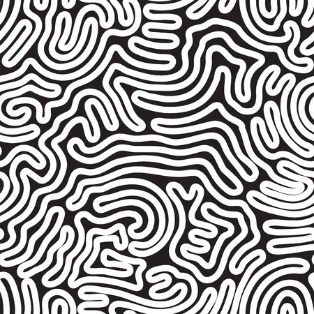 statics: Universal geometric striped seamless pattern. Repeating abstract chaotic wavy lines, curl, scroll gradation in black and white. Modern design Illustration