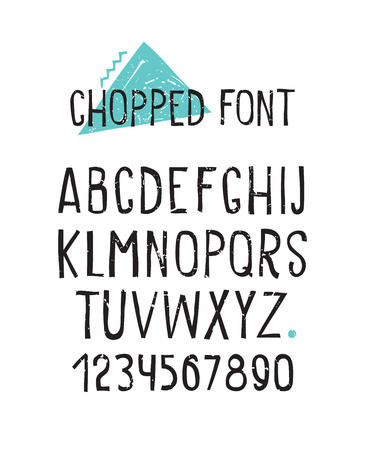 statics: Line simple chopped font. Universal alphabet with capital letters, numbers, design grunge minced elements blue zigzag, triangle, stain, dot Illustration