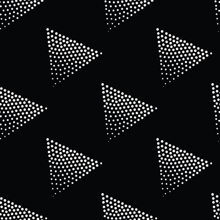 pointillism: Vector geometric seamless pattern. Repeating abstract triangle gradation in black and white. Modern halftone circle design, pointillism