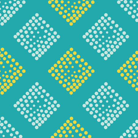 pointillism: Vector geometric seamless pattern. Repeating abstract square gradation in turquoise, blue, yellow color. Modern halftone design, pointillism, illusion