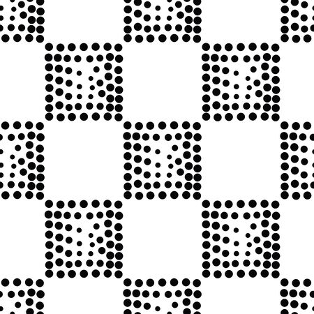 pointillism: Vector geometric seamless pattern. Repeating abstract square gradation in black and white. Modern halftone design, pointillism, illusion