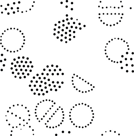 pointillism: Vector geometric seamless pattern. Repeating abstract circles gradation in black and white. Modern halftone circle design, pointillism