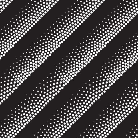 pointillism: Vector geometric seamless pattern. Repeating abstract stripes gradation in black and white. Modern halftone lines design, pointillism Illustration