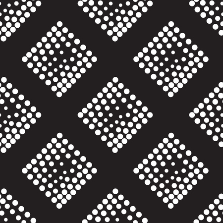 pointillism: Vector geometric seamless pattern. Repeating abstract square gradation in black and white. Modern halftone design, pointillism, illusion. Parallel diagonal overlapping background