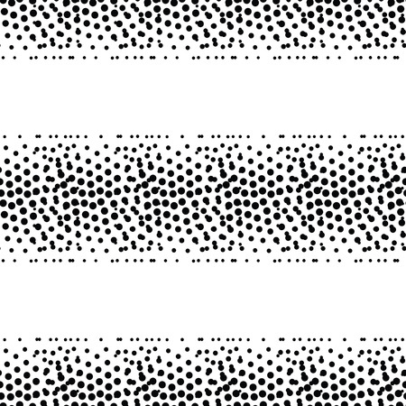 pointillism: Vector geometric striped seamless pattern. Repeating abstract chaotic dotted gradation in black and white. Modern halftone design, pointillism, illusion