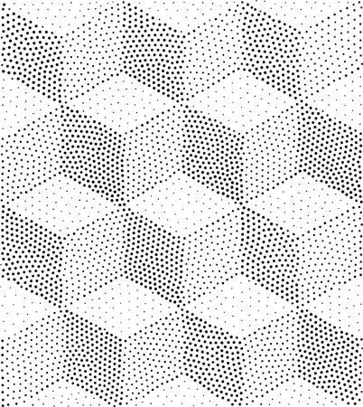 pointillism: Vector geometric seamless pattern. Repeating abstract triangles gradation in black and white. Modern halftone square, design, pointillism
