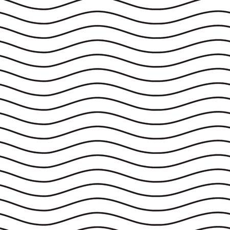 Universal naadloze lineaire gestreept golf abstracte patroon in zwart en wit. Eenvoudige klassieke achtergrond, lijnen met hetzelfde interval Vector Illustratie