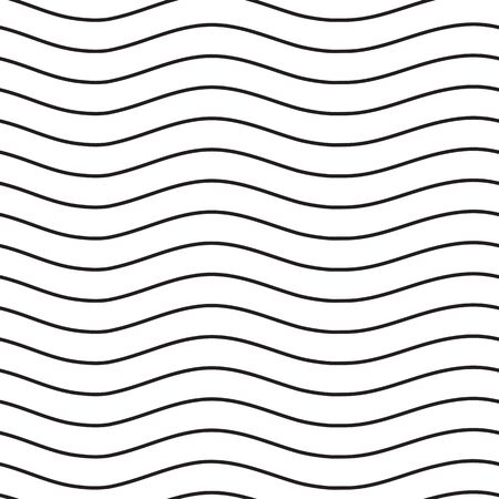 Universal seamless linear striped wave abstract pattern in black and white. Simple classical background, lines with the same interval Vector Illustration