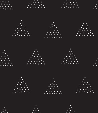 gradation: Vector geometric seamless pattern. Repeating abstract triangle gradation in black and white dots. Modern pointillism design
