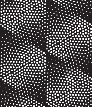 Vector abstract geometric seamless pattern. Repeating gradation in black and white. Modern halftone design, pointillism
