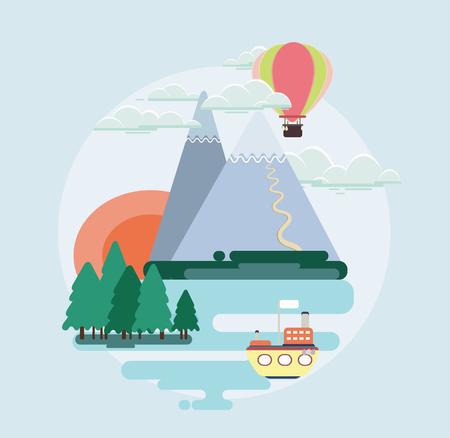 european alps: Modern vector flat design conceptual landscape illustration with mountains, ship, balloon