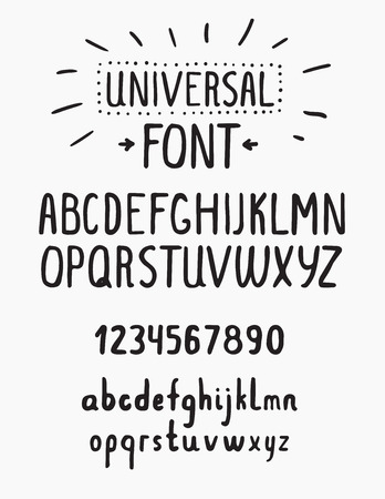statics: Line simple font. Universal alphabet with small and capital letters, numbers for your design, business