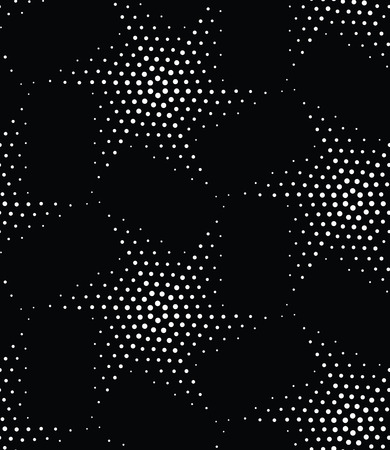 holliday: Vector abstract geometric seamless pattern. Repeating stars gradation in black and white. Modern halftone design, pointillism