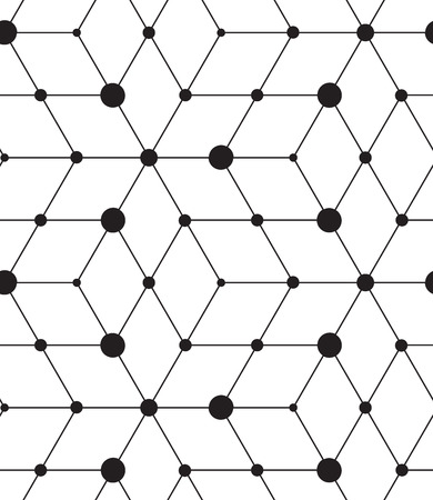 grid pattern: Vector seamless pattern. Modern geometric background. Texture with lines, grid, rhombus and nodes