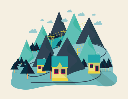 idyllic: Flat eco design of abstract idyllic village on hills, rural landscape with field, house, forest, river. Modern vector color illustration concept, icons