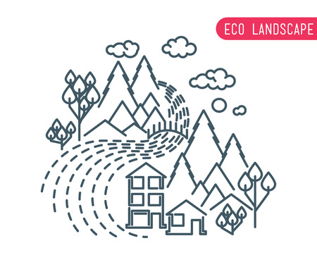 idyllic: Thin line landscape flat landscape eco landscape design of abstract idyllic village on hills, rural landscape with field, house, forest, river. Modern landscape vector outline illustration concept