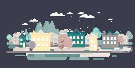 european alps: Flat design urban landscape illustration with house, hils, street Illustration