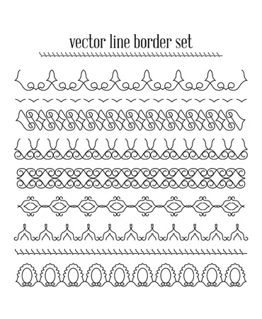 bracelet tattoo: Vector lines, border divides set. Universal elements seamless lines for your design
