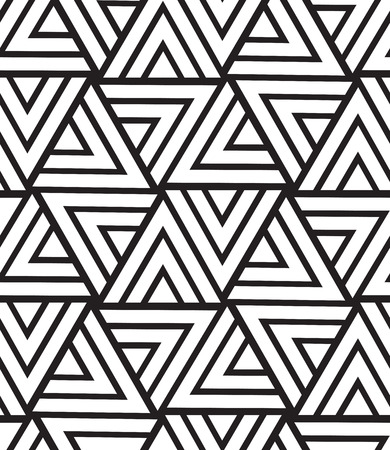 Vector seamless pattern. Modern geometric texture. Repeating abstract background. Triangle linear grid from striped elements Çizim