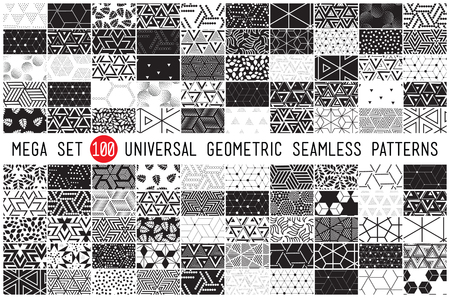 pointillism: 100 Universal different geometric seamless patterns. Endless vector texture can be used for wrappingwallpaper, pattern fills, web page background,surface textures. Set of monochrome geometric ornaments