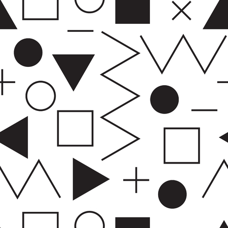 plus size: Universal vector lineal geometric seamless pattern. Simple abstract mathematic figure in minimalist style. Circles, dots, triangles, squares, zigzag