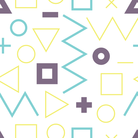 plus size: Universal colorful vector lineal geometric seamless pattern. Simple abstract mathematic figure in minimalist style. Circles, dots, triangles, squares, zigzag, violet, yellow, blue